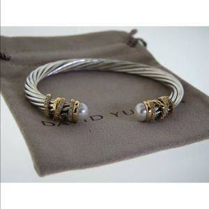 DAVID YURMAN 6MM HELENA PEARL 18K &SILVER BRACELET